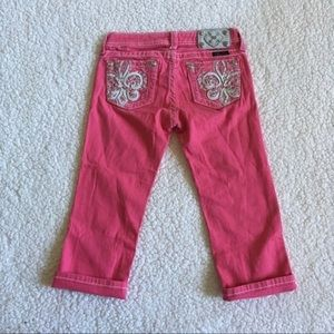 Miss Me Pink Embroidered Cropped Jeans Kids 12